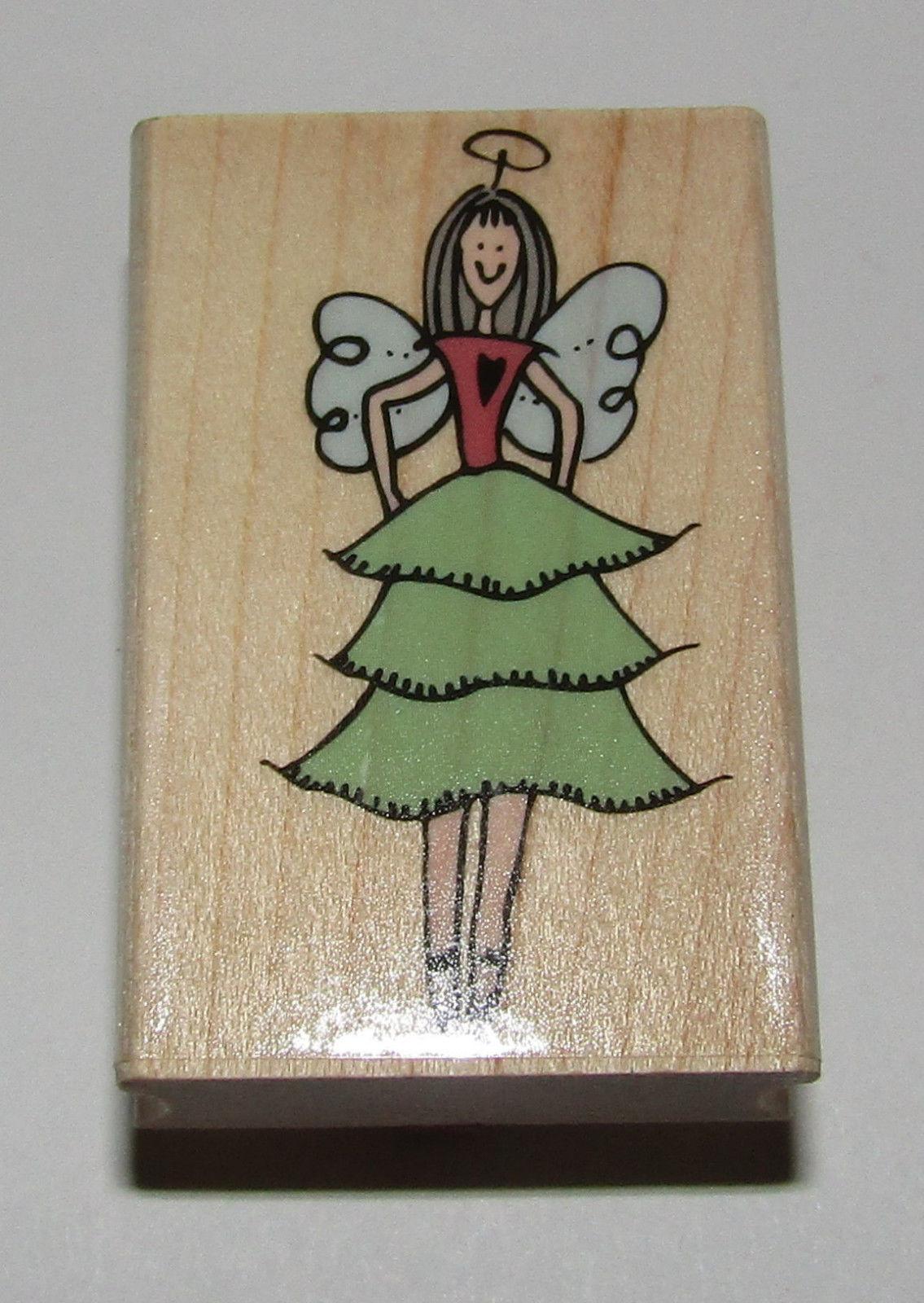 "Angel Rubber Stamp Halo Wings Shari Hero Arts Rare Wood Mounted Fairy 2"" High  - $5.93"