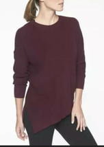 Athleta Rest Day Sweater Women XS Knit L/s Top Asymmetric Hem Ribbed Bur... - $25.73