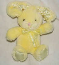 COMMONWEALTH STUFFED PLUSH EASTER BUNNY SATIN EARS FEET RIBBON BOW YELLO... - $47.02