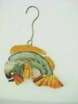 Hanging Metal Fish Sariba Shrimp Wall Decor sculpture Wall Art Ruby eye ... - $15.68