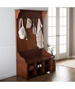 Cherry Finish Wooden Hall Tree Coat Rack Hat Hooks Storage Stand Entrywa... - $375.11