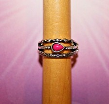 Pink Stone Clear Rhinestone Stretch Ring Ornate Silver Tone Paparazzi New Gift - $7.82