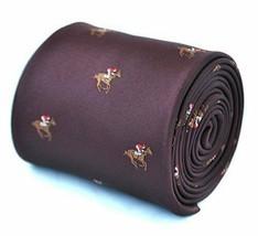 Frederick Thomas maroon tie with horse racing design