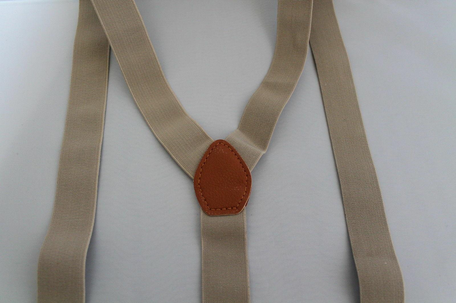 Beige Unisex Suspender Braces Adjustable Leather Button Holes Lycra/Elastane UK image 5