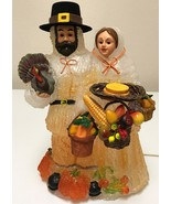 "Thanksgiving 12"" Light Up Iced Blow Mold Pilgrim Couple Lamp Table Decor... - $73.99"