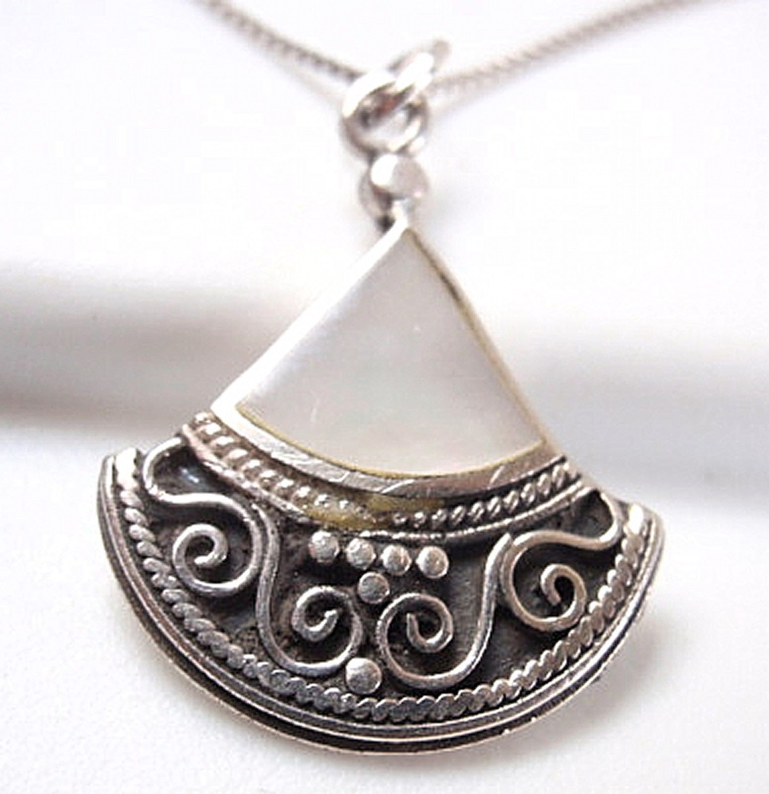 Primary image for Small Mother of Pearl 925 Sterling Silver Necklace Teardrop  Corona Sun Jewelry