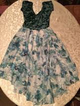 Halloween Adult medium Costume Gallery dress floral fancy green ladies  - $26.99
