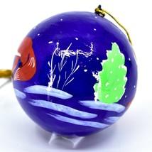 Asha Handicrafts Hand Painted Papier-Mâché Red Fox Holiday Christmas Ornament  image 2