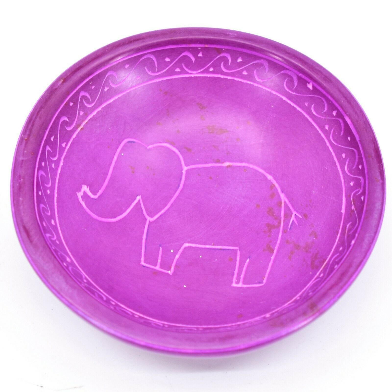 Vaneal Group Hand Crafted Carved Soapstone Fuchsia Elephant Trinket Bowl Dish