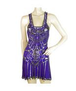 Jenny packham purple silk beaded sleeveless x back mini evening dress GB 8 - $361.03