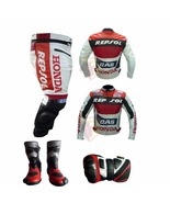 HONDA GAS REPSOL RED MOTORBIKE 2 PIECE COWHIDE LEATHER SUIT WITH BOOTS A... - $459.99