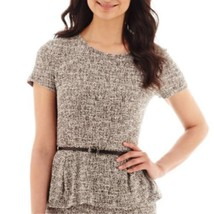 Liz Claiborne Short-Sleeve Belted Peplum Bouclé Top Size L, XL New Msrp $44 - $14.99