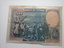 banknote spain, 50 pesetas 1928, XF, rare signature, no prefix - $25.00