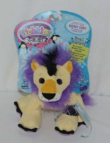 Ganz Brand HM5103 Purple Yellow Black Webkinz Rockerz Collection Plush Lion