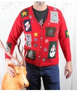 Karen Scott M size Christmas Sweater Patch Craft Country Design Cardigan - $19.79