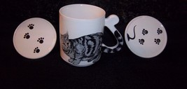 Cat Lover Mug Gray Black Striped Tabby + 2 Pawprint Lids Coasters Coffee... - $19.79