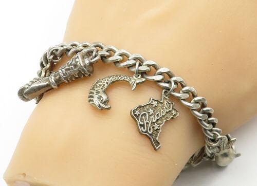 925 Sterling Silver - Vintage Assorted Charm Curb Link Chain Bracelet - B6326