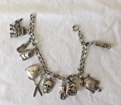 Vtg SS Charm Bracelet Skull Puffy Heart Elephant w/ Carriage Baseball Ca... - $102.85