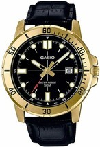 Casio Men's Enticer Leather Band Gold Tone Black Dial Casual MTP-VD01GL-1EVUDF - $34.64