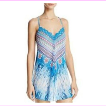 in Bloom by Jonquil Turquoise Floral Chiffon Chemise Sleepwear Gown, Small - $34.10