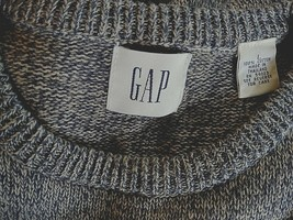 Gap Men's Ls CREW-NECK Gray 100% Cotton SWEATER-L-EXCELLENT-WORN ONCE-VARIEGATED - $12.00