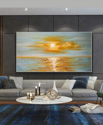 Sunrise Sea Horizon Oil Painting Wall Art Decor