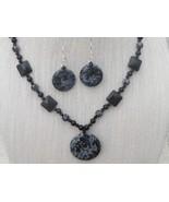 28.5 Inch Snowflake Obsidian Donut Necklace Earrings Onyx Handmade - $49.99