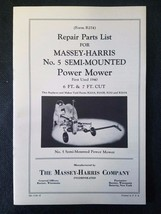 Original Massey Harris Repair Parts List Manual for No. 5 Power Mower - $14.80