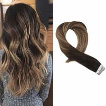 Moresoo 20 Inch Tape in Human Hair Extensions Glue on Hair Balayage Color Off Bl