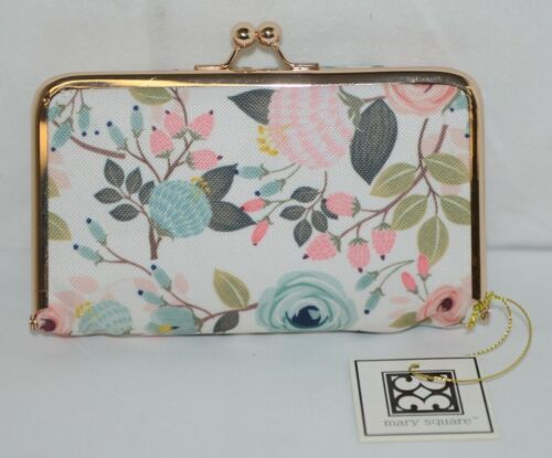 Mary Square 20278 Peach Floral Pill Pouch Clutch Closure Plastic Container