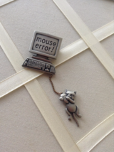 Vintage Computer And Mouse JJ Jonette Jewelry Pewter Fashion Brooch - $50.00