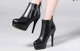 PB167 awesome zipper Martin booties, genuine leather, size 4-8.5, black - $99.80