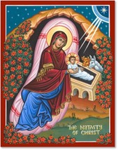 """The Nativity of Christ Icon - 3"""" x 4"""" Prints With Lumina Gold"""