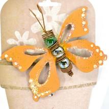 Orange Glitter Butterfly Metal & Glass Ball Garden Pot Sticker Decoration image 2