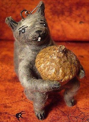 Vintage Inspired Spun Cotton Ornament Squirrel No.34 Fall Autumn Halloween