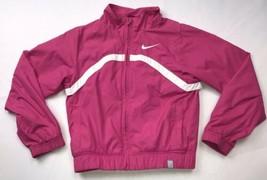 NIKE Girls Full zip Windbreaker Track Sport Athletic Jacket Size XS Pink... - $30.19