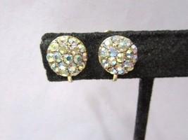 Sparkly Rhinestone Ab Earrings Classy Fancy Vintage Screw Back - $15.00
