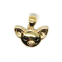 Yellow Gold Pendant 750 18K, Pendant, Dog, Chihuahua, Zircon Black, Solid image 2