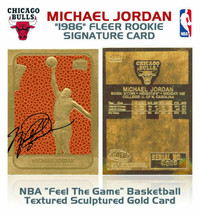 1986 MICHAEL JORDAN Fleer ROOKIE Feel The Game NBA 23K Signature GOLD Card - $19.79