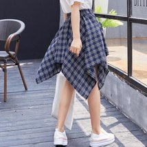 Asymmetrical Plaid Skirt Woman 2018 Spring New Fashion Casual Skirts Womens Loli image 4