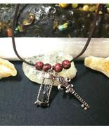 Necklace  with Hourglass and Fleur de lis Key Pendants Goth Cajun Cross - $15.35