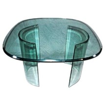 """Large 42""""W Mid Century Modern Curved Beveled Glass Center Dining Coffee ... - $2,494.39"""
