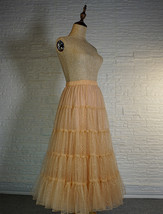 Gold Apricot Floor Length Tulle Skirt Sparkle Long Tiered Tulle Holiday Outfit image 5