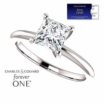 14K Gold 1.25 Carat Moissanite Forever One Princess Square Ring -Charles... - $699.00