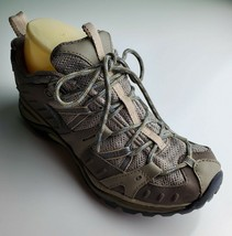 Merrell Olive Taupe Gray Leather Hiking Shoes Sneakers Women's 7 - $24.74