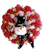 Extra Large Snowman with Black Top Hat Fireplace Deco Mesh Christmas Wre... - $120.00