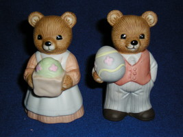 Set Of Two Homco Easter Bears Holding Eggs - $8.99