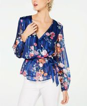 Glamorous INC blue floral wrap MEDIUM TOP BLOUSE. NWT! Retail $79. Current  - $49.99