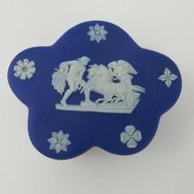 Vtg Wedgwood Royal Blue Jasperware Classical Scenes Trinket Box Wavy Shape - $29.69