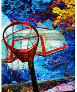 Unique Basketball Art Print, Basketball Decor, Sports Decor, Colorful Ar... - $15.88+